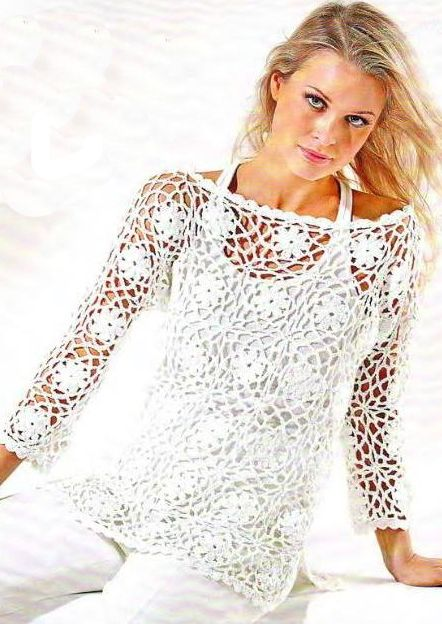 This top is created with simple square crochet patterns. These large motifs, worked in a summer-weight cotton, are perfect for yo...