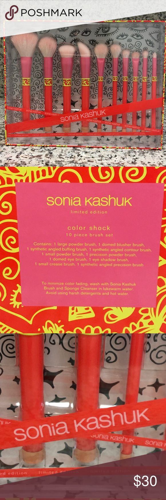 SONIA KASHUK limited edition Color Shock 10 pc set Sonia Kashuk Limited Edition high quality 10 piece brush set. Contains one large powder brush, one domed blusher brush, one synthetic angled buffing brush, one synthetic angled contour brush, one small powder brush, one Percision powder brush, one domed eye brush, one eye shadow brush, one small crease brush, one synthetic angle precision brush. Sonia Kashuk Makeup Brushes & Tools