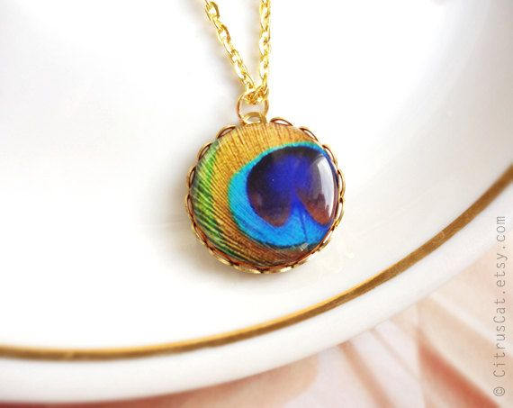 Golden peacock feather necklace