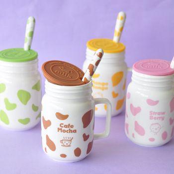 Fun жизнь пятнами корова чашки с крышкой и ложкой керамическая чашка молока чашку ретро личность знак чашки кафе мокко C01077