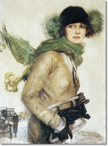 Howard Chandler Christy - A Good Day For Skating 1923 Painting