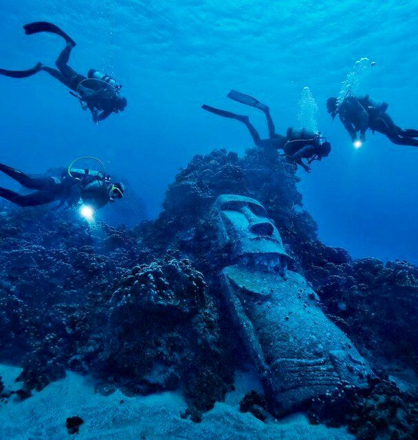 Underwater Moai Statues on Rapa Nui (Easter Island), Chile