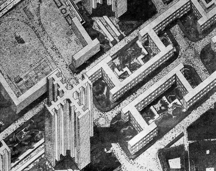 "acidadebranca: "" mikasavela: "" Portions of Plan Voisin. From Le Corbusier et Pierre Jeannere. Oeuvre complète Vol 1 (1910-29). "" 1925   Le Corbusier   Studies for Plan Voisin for a modernisation of..."