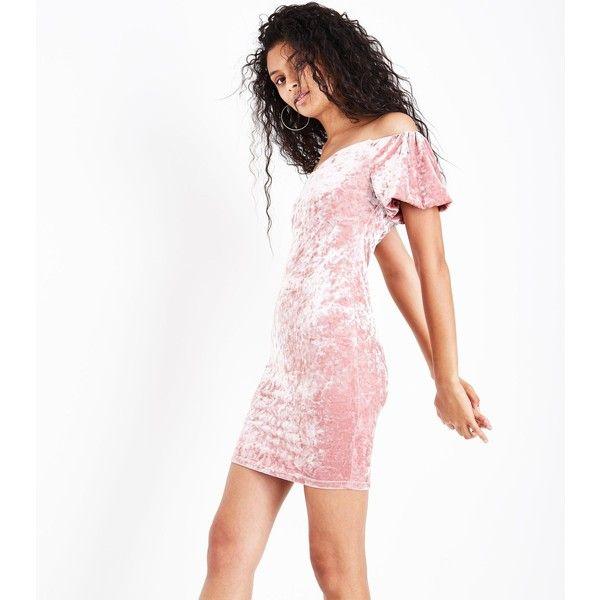Mink Velvet Puff Sleeve Bardot Neck Bodycon Dress ($27) ❤ liked on Polyvore featuring dresses, mink, velvet bodycon dress, bodycon cocktail dresses, white velvet dress, white body con dress and white bodycon dresses