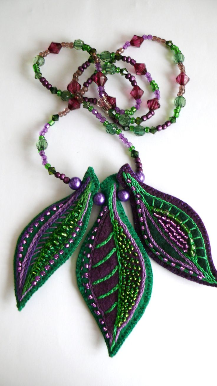 Autumn Felt Leaves Pendant Necklace Purple and Green by mokavicka