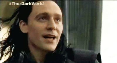 YOU GUYS!!! YOU GUYS!!!! HE'S SMILING!!!! *cries tears of joy*....makes me happy to see Loki happy :) (gif)
