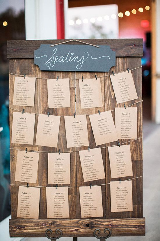 rustic seating assignment display