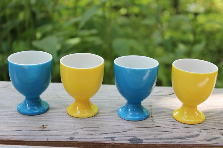 Vintage Mid Century Modern Egg Cups from Japan, Set of 4, Blue and Yellow Egg Cups, Modern Design Egg Cup by objectsofvirtu on Etsy