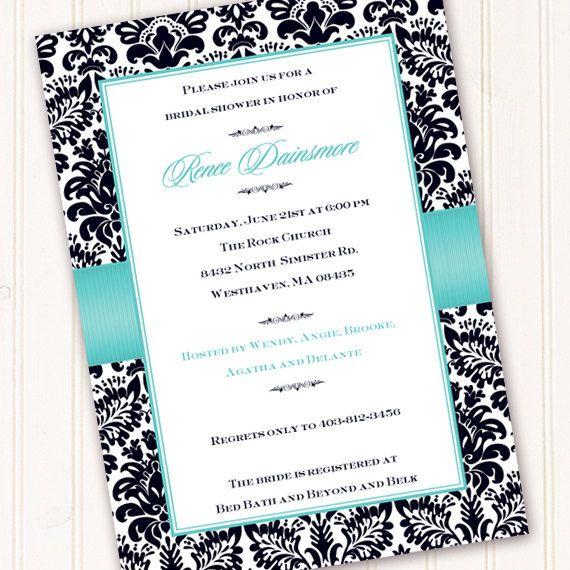 bridal shower invitation, Tiffany blue and black invitation, wedding invitation, damask invitation, black and blue. $20.00, via Etsy.