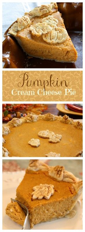 Pumpkin Cream Cheese Pie | www.savingdessert.com