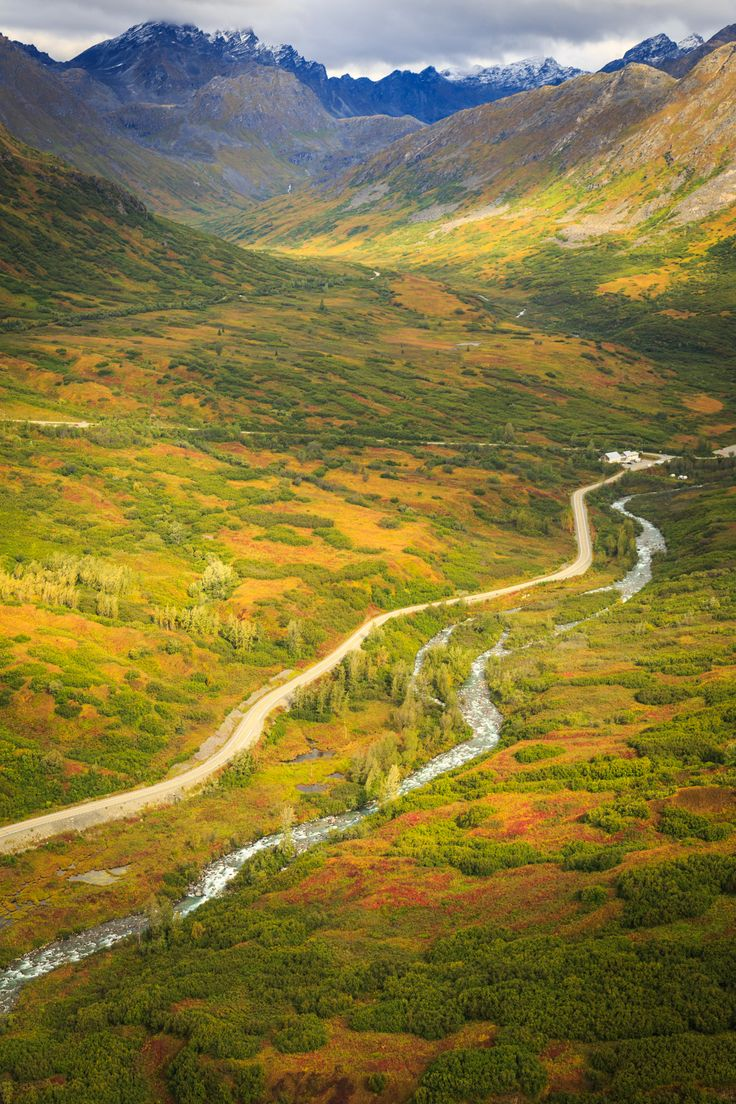 Hatcher Pass Scenic Drive (aka Fishhook Road) 61.729574,-149.233875 (1hr north of Anchorage)