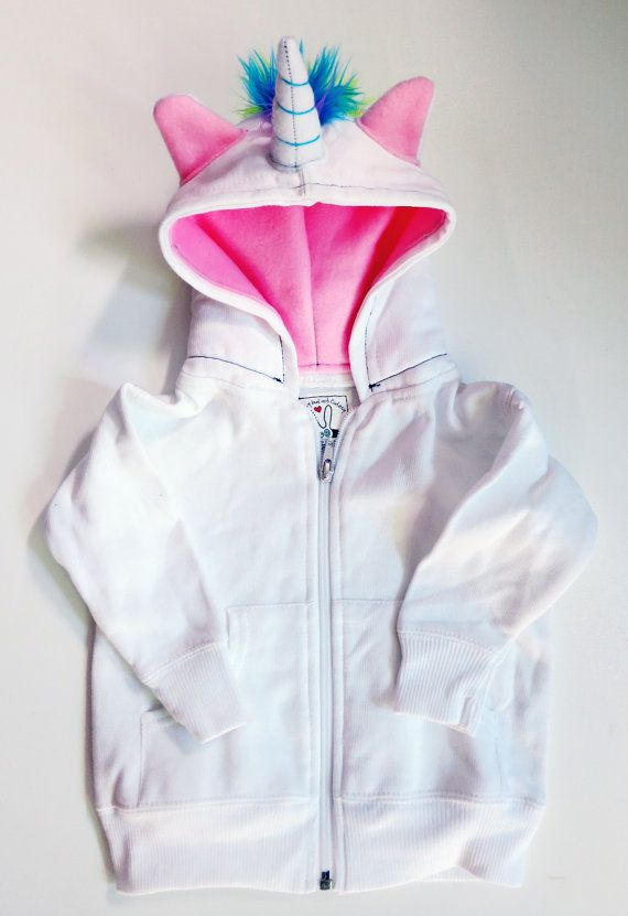 Baby Unicorn Hoodie - Size 6 month - White with pink - horned sweatshirt, rainbow mane, custom jacket, great gift for kids