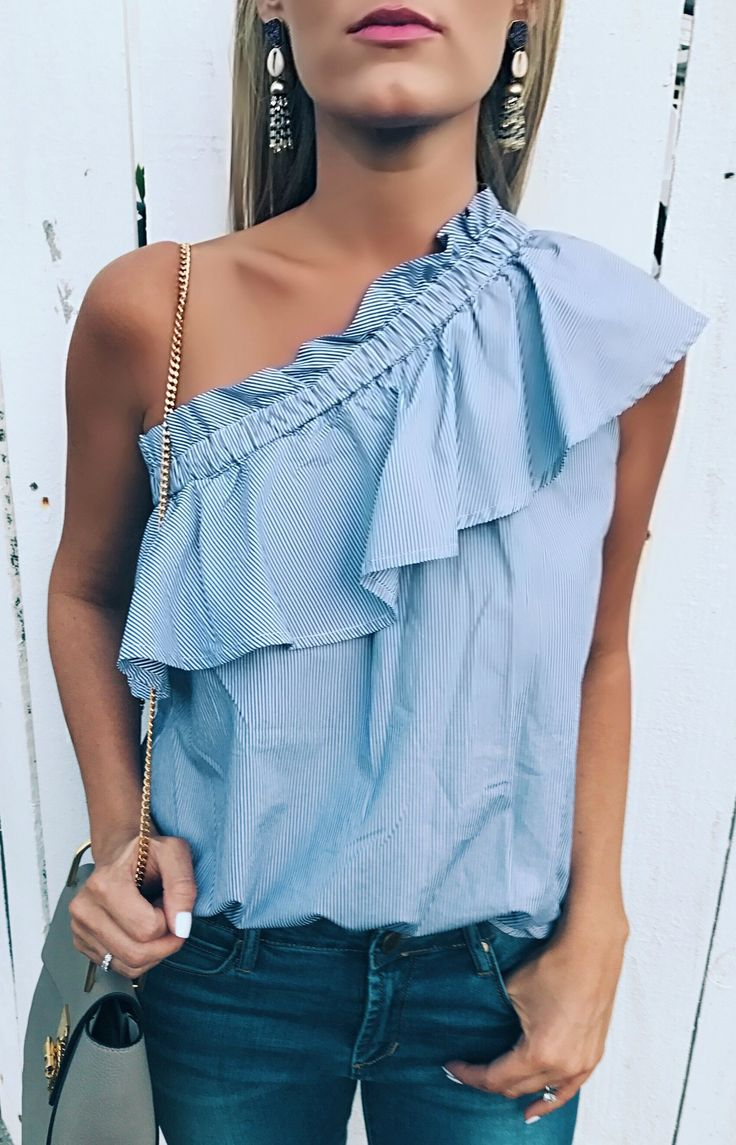 #spring #outfits Last Chance To Get This Top For 25%off!!! Spring Trends On Sale! Must Haves!  // Blue Ruffle Off The Shoulder Top + Navy Skinny Jeans + Grey Leather Shoulder Bag