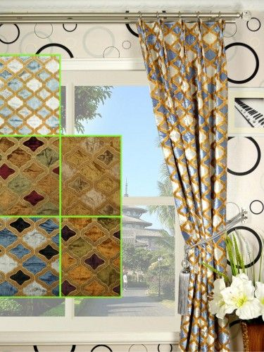 Maia Geometrical Double Pinch Pleat Velvet Curtains - Custom Curtains Drapes Draperies Sheers Rods and Tracks
