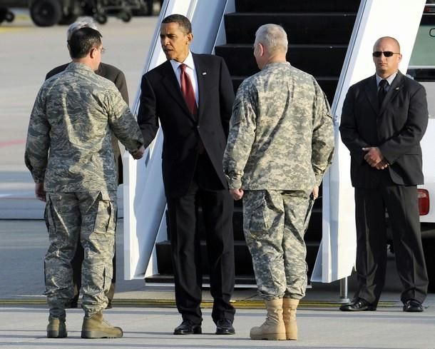 Us President Barack Obama Shook Hands With Military Personal As He