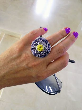 #ring #violet #yellow  #RoseBrinelli #jewerly #fashion   #beautiful  #flower