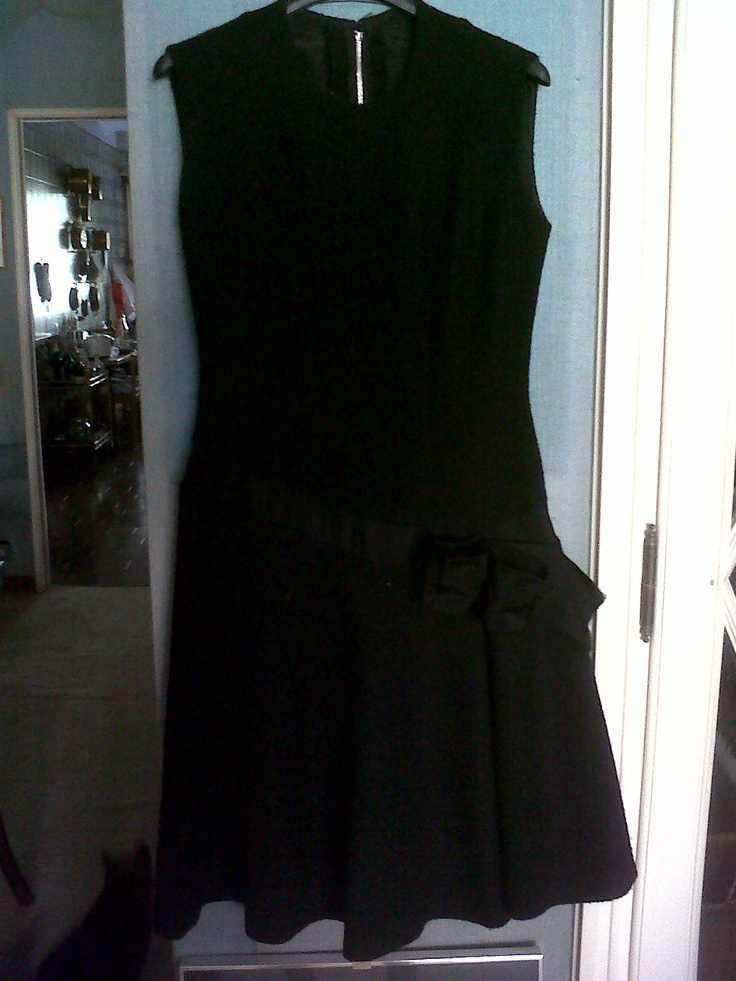 Beginning 50s wool Charleston evening dress. With bow. Low-rise