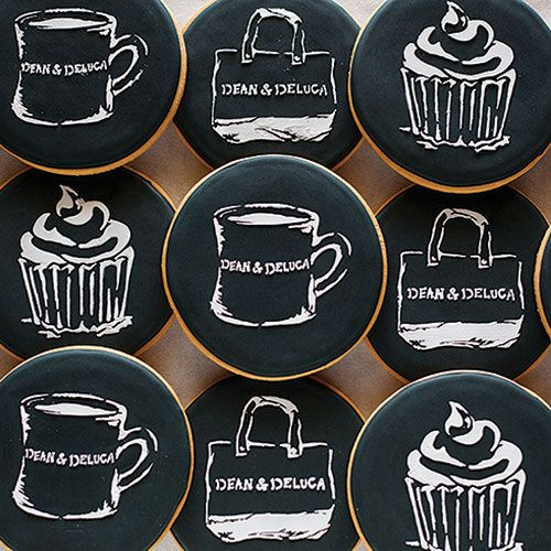 "DEAN & DELUCA Chalkboard Cookies: Crispy sugar cookies are hand-decorated in ""blackboard"" icing complete with white ""chalk"" drawings of cupcakes, our diner mug, and our iconic tote. - $65 at Dean & DeLuca"