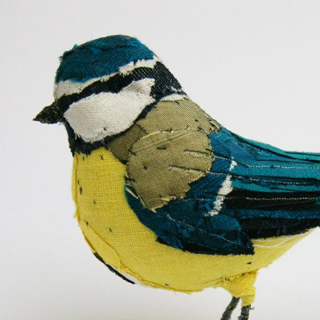 Fabric species bird BLUE TIT by abigailbrown on Etsy, £182.00