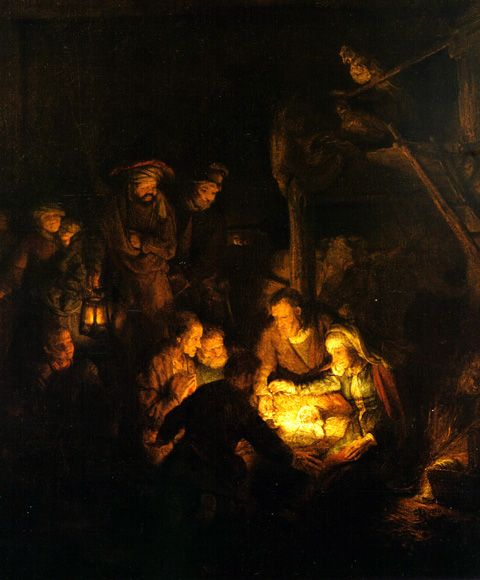 light of the world....what joy seen in Rembrandt's nativity: