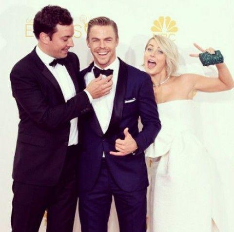 Derek Hough, with Jimmy Fallon and Julianne Hough, at the Emmys. (Derek Hough/Instagram)