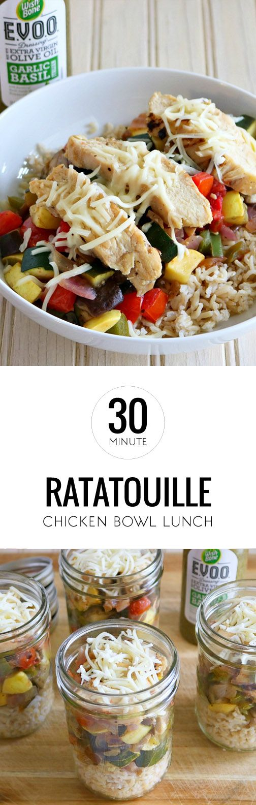 Find all your favorite Italian-flavored ingredients in this recipe for a Ratatouille Chicken Lunch Bowl. From the eggplant and zucchini to the portabella mushroom and mozzarella cheese, this delicious dinner dish even starts with a bed of Tyson Grilled Chicken Breast Strips. Top with Wish-Bone EVOO Garlic and Basil Dressing to kick off this 30-minute dish. Don't forget to find all your ingredients at Kroger.