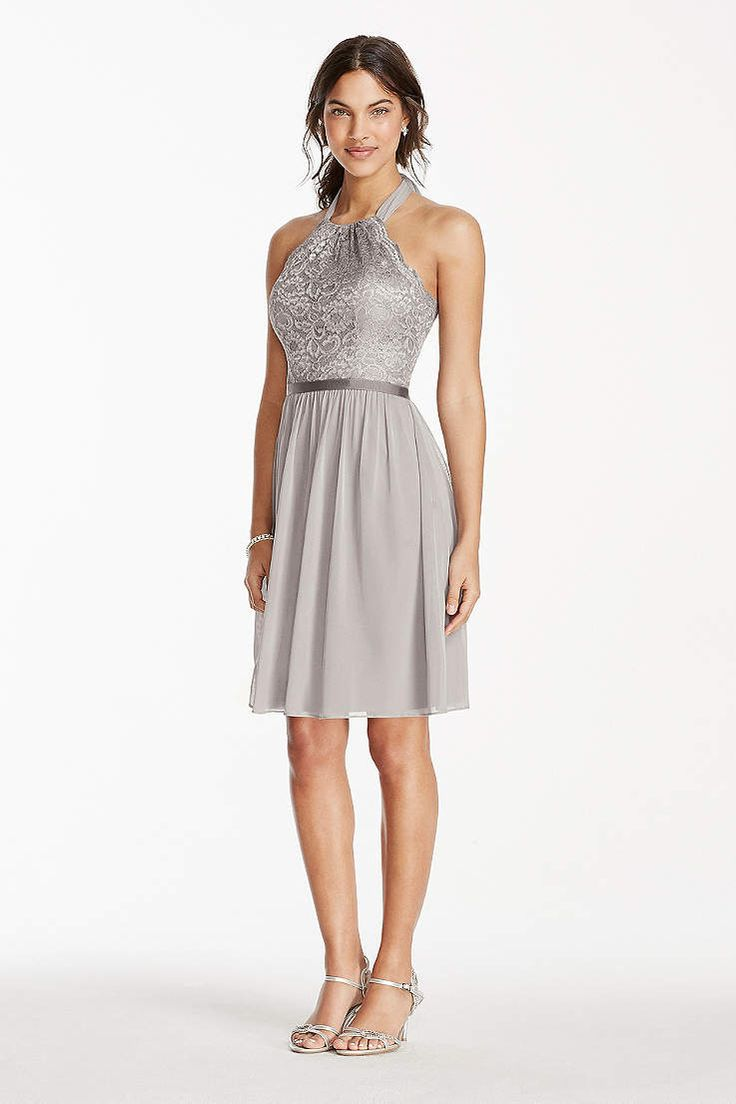 Picturing your bridal party in glamorous silver bridesmaid dresses? View David's Bridal collection of silver grey bridesmaid dresses in long & short styles.