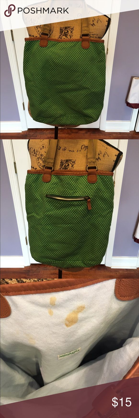 American Eagle Outfitter Green TOTE BAG Purse Super cute!  Needs a wash or wipe down on the inside. Sturdy and stylish! American Eagle Outfitters Bags Totes