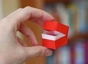 Origami box with hinged lid made from a single sheet of paper. WOW!