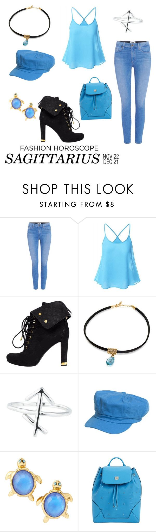 """Sagitario"" by disneybound-mexico ❤ liked on Polyvore featuring Paige Denim, Louis Vuitton, Rock 'N Rose, Kate Spade, MCM, fashionhoroscope and stylehoroscope"