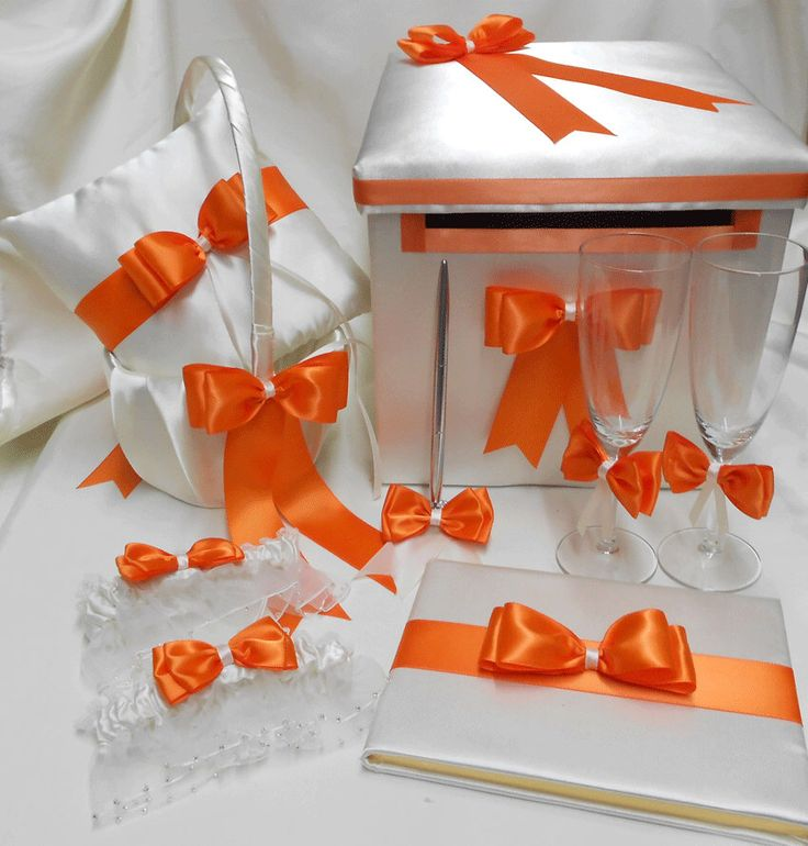 Ivor Champagne Orange Wedding accessories Ring Pillow Flower Girl Basket halo Guest book Pen card box  Garters Cake set Toasting glasses by weddingsbyminali on Etsy https://www.etsy.com/listing/197384212/ivor-champagne-orange-wedding