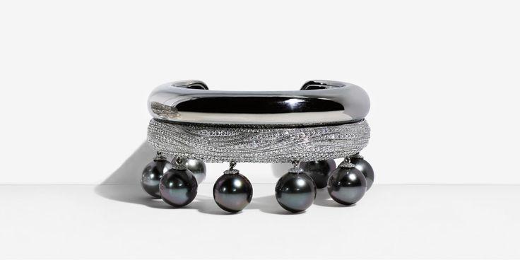Bracelet en or blanc 18 carats orné de perles de Tahiti et de diamants. | Tiffany & Co.