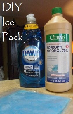 Easy homemade ice pack = rubbing alcohol + any brand liquid dish soap.