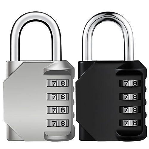 Keekit Combination Lock 2 Pack 4 Digit Anti Rust Padlock Set Weatherproof Gate Gym Locker For School Sports