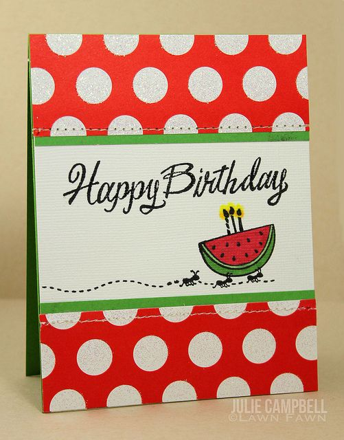 Lawn Fawn - Grand Greetings, Happy Summer _ Ants and Watermelon Birthday Card - judith ant stamp -j