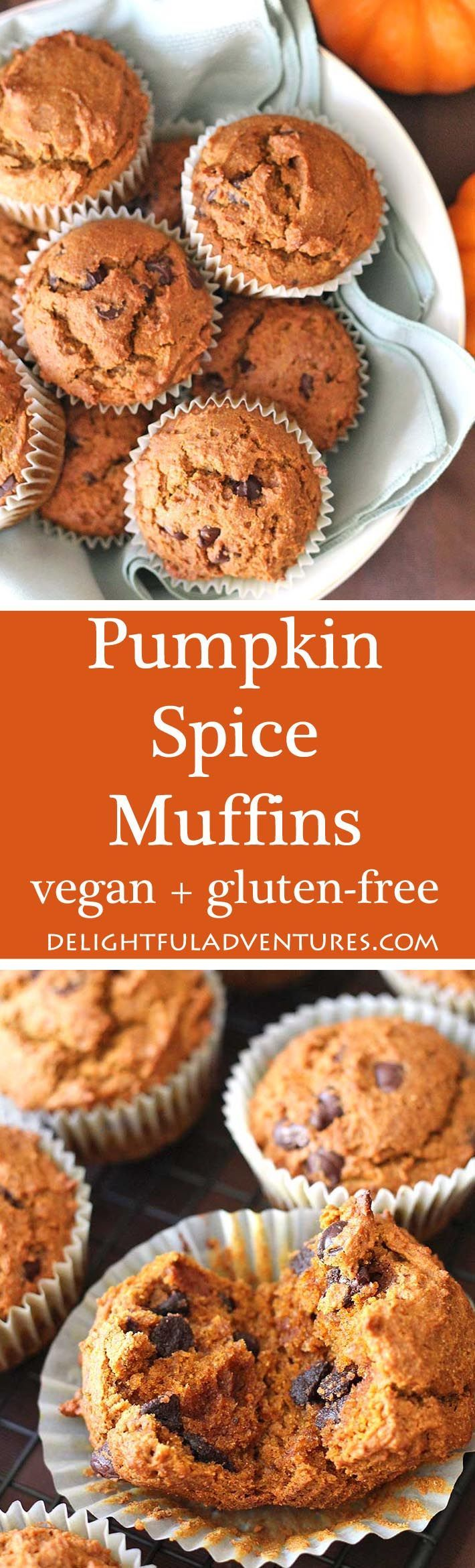 Vegan gluten free pumpkin spice muffins that are so easy to make and so delicious, you'll want to make them year-round—not just during the fall. #vegan #veganglutenfree #pumpkinmuffins #veganpumpkinrecipe