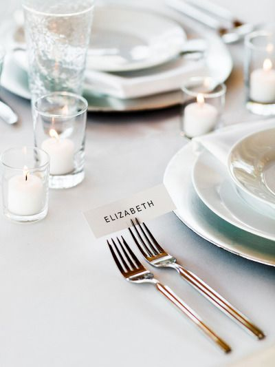 Place card holder: http://www.stylemepretty.com/utah-weddings/salt-lake-city/2015/05/04/part-i-modern-minimal-wedding-inspiration/ | Photography: Megan Robinson - http://www.meganrobinsonblog.com/