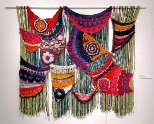 Rainbow Colors >> Woven fabric wall hanging.