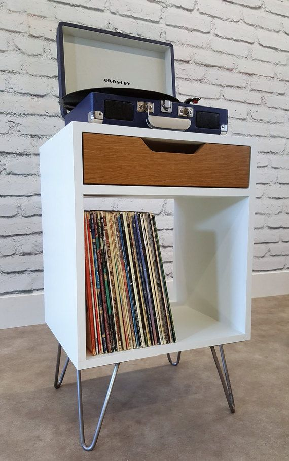 Modern Nightstand Record Player Stand Bedside by SAWoodworking Mehr