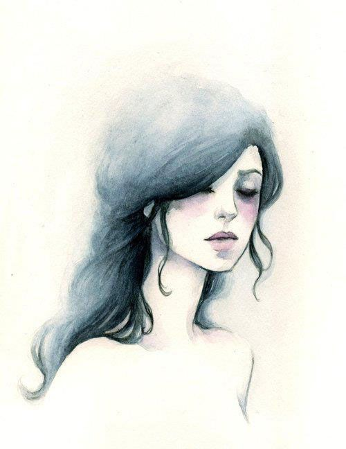 Watercolor - Girl with raven hair... With a red dress? @Christina Childress…