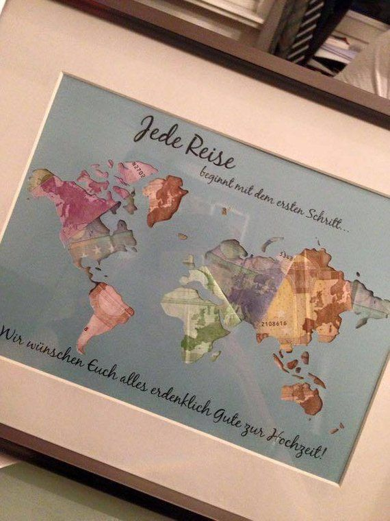 vintage Money gift World map frame Wedding