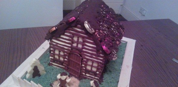 Salted Butterscotch Chocolate Christmas House Cake