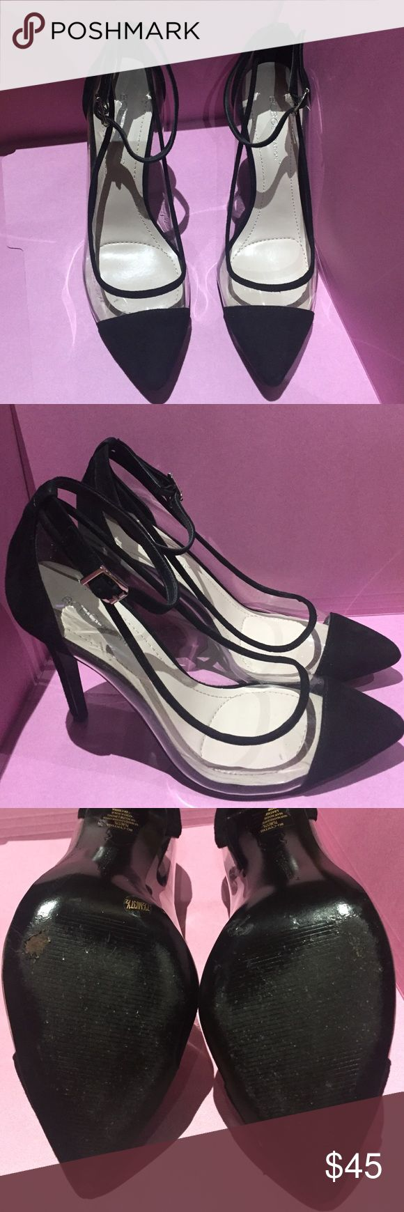 """BCBG black suede & clear heels size 7 1/2 BCBG black suede & clear heel. Size 7 1/2  4"""" heigh. Very good shape other that one of them is a worn on the bottom shown in the picture. PLEASE ASK ALL QUESTIONS PRIOR TO PURCHASE. I AM NOT RESPONSIBLE FOR LOST OR DAMAGE PARCEL OR BUYERS DISSATISFACTION. BCBGeneration Shoes Heels"""