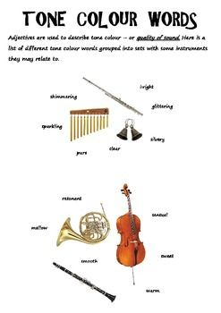 Music metalanguage. Tone Colour words
