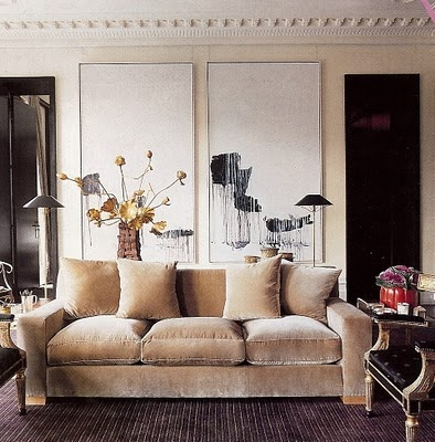 //: Wall Art, London Home, Living Rooms, Decor Ideas, Color, Jacques Grang, Interiors Design, Chic Dress, Velvet Sofas