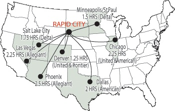 Rapid City Regional Airport (RAP) is the commercial airline hub for the Black Hills. Schedule your air travel on Allegiant, Delta Airlines, Frontier Airlines, American Airlines, and United Airlines. Private pilots land at state-approved airports at Hot Springs, Custer, Rapid City, Wall, Sturgis, Spearfish, Sundance and Belle Fourche.