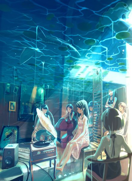 anime under water, anime room in under water