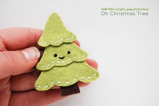 Mini Christmas Tree Felt Pin or Ornie downloadable pattern by wildolive