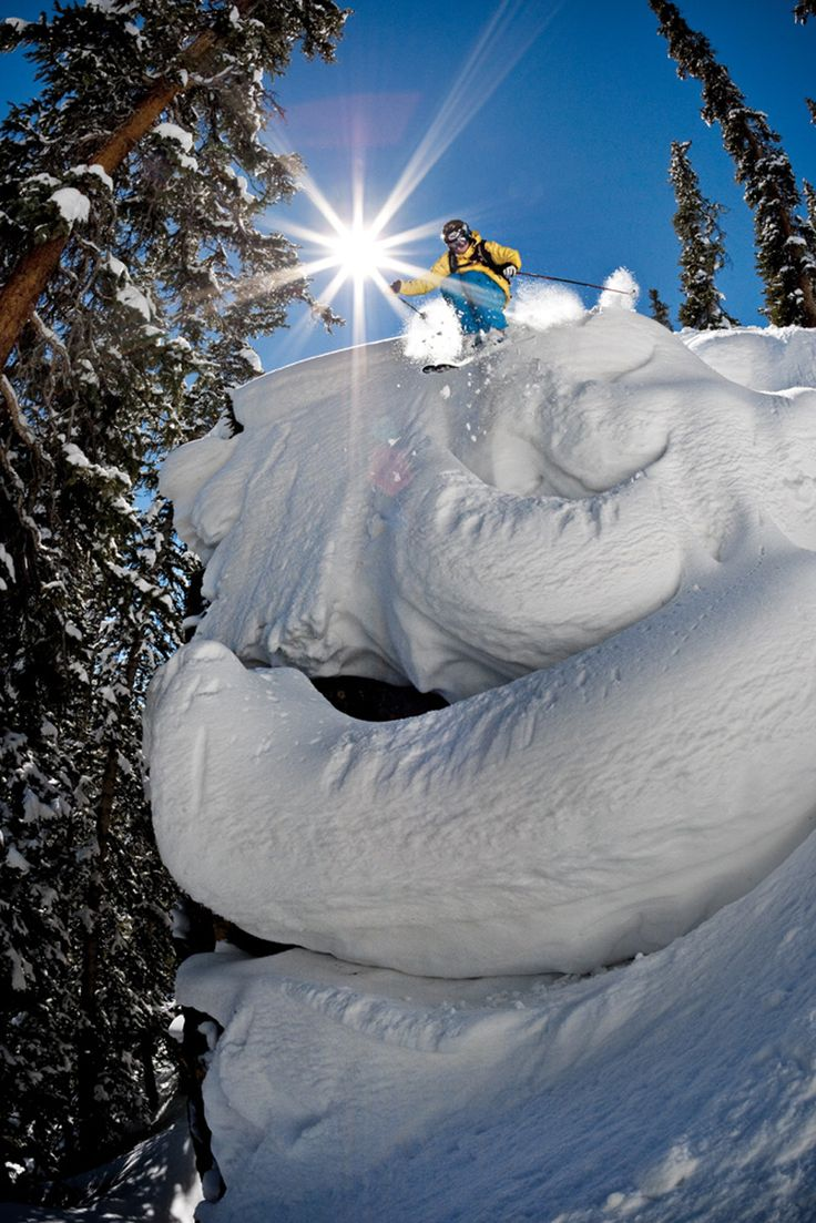 """Aspen, Colorado! Previous Pinner """"We love this shot of powder skiing on Snowmass, Aspen's largest mountain. Snowmass is only a few minute drive from the Hotel Jerome in Aspen Colorado #Luxury #Travel"""""""
