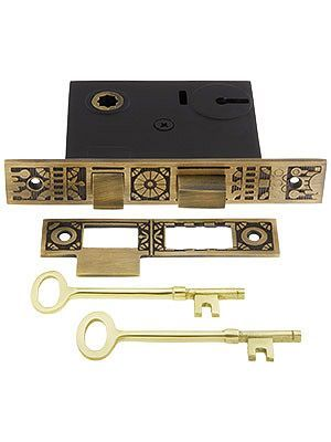 """I have been looking to replace our skeleton key locks and these are so pretty! 2 1/4"""" Backset Windsor Pattern Mortise Lock in Antique-By-Hand Finish"""